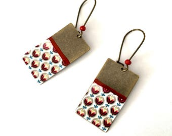 Rectangular earrings: stylized flowers. Scandinavian motives. Red paint(painting). Red pearls.