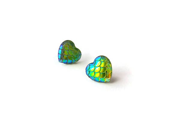 Heart of mermaid stud earrings - Yellow sky - Hypoallergenic pure titanium and resin