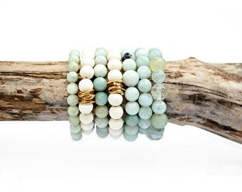 White Wood Stretch Bracelet, Brass Bead Bracelet, Gold Bead Bracelet, Simple Bracelet, Boho Bracelet