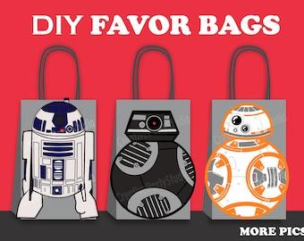 Star Wars Favor Bags/ R2D2/ BB-8/ BB-9E Favor Bags/ Star Wars Birthday Theme/ Star Wars Party Favors/ Star Wars Goodie/ Goody/ Loot bags