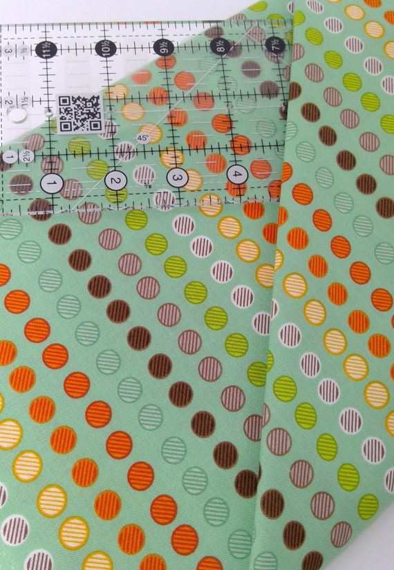Multicolored Dots In Stripes Seafoam Green Background Clean Living by Barbara Jones of Quilt Soup, Quilt Fabric By The Yard 6692 11