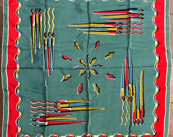 Vintage 1950s Colorful Silk Novelty Print Scarf Writing Pens