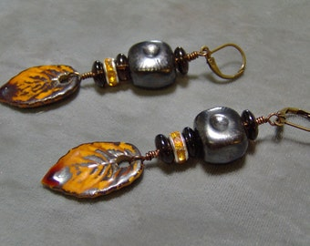 Ceramic  Earrings - Earthy Earrings - SRAJD - Artisan Ceramic Beads and Brass Lever Back Ear Wires