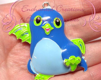 """2"""" Blue and Green Dragon Hatchimal Inspired Charm, Chunky Pendant, Keychain, Bookmark, Zipper Pull, Chunky Jewelry, Purse Charm"""