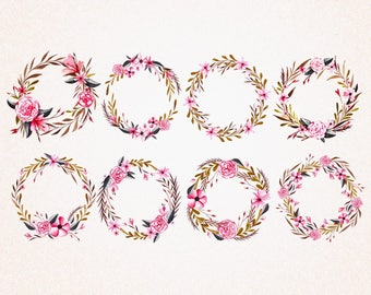 8 x Floral Wreath Clipart /svg,eps,png 300 ppi,jpg/Digital Vector/Instant Download