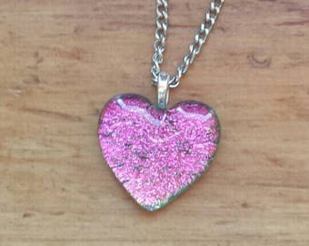 Pink Heart Dichroic Glass Necklace, Dichroic Glass Pendant, Art Glass Jewelry, Dichroic Glass Jewelry, H104