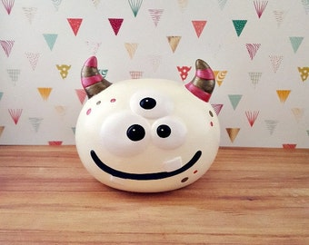 Red Brown and Cream Monster Piggy Bank, Monster Piggy Bank, Customizable Piggy Bank, Monster Bank, Monster Baby Decor, Monster Nursery,