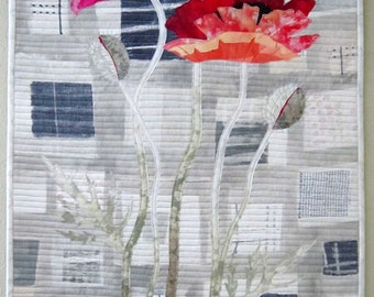 Urban Poppies - Art Quilt - Art - Quilt - Handmade - Original - red - Grey - Wall Hanging - Textile