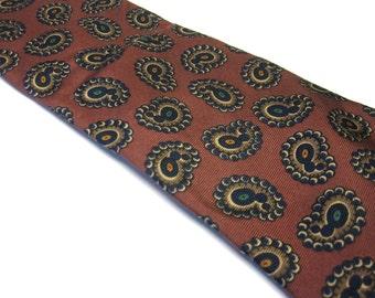 Paisley Necktie Brown Black Silk Neck Tie Vintage Christian Dior