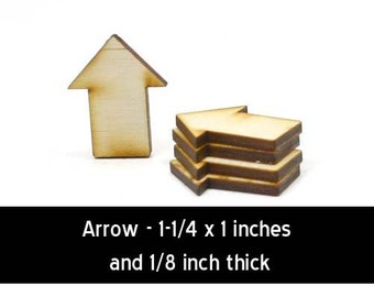 Unfinished Wood Arrow - 1-1/4 wide by 1 inch tall and 1/8 inch thick wooden shape (ARRW02)