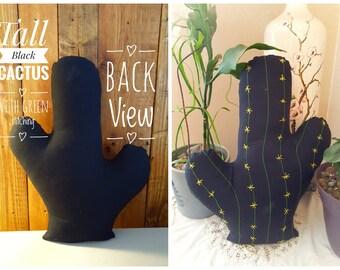 Black cactus pillow