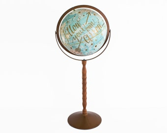 World Globe 12in Vintage Gold Floor Globe Inspirational Quote Travel Decor Nursery Wedding Office Decor Blue