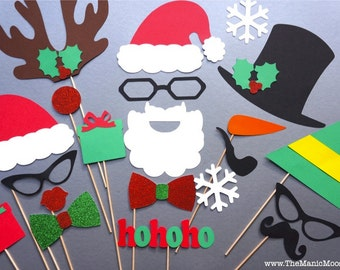 Christmas Photo Booth Props - 21 piece set - GLITTER Photobooth Props - Santa and Friends - Family Holiday Photos