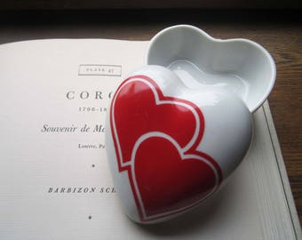 Vintage Porcelain Heart Box, Ring Bearers Box , Takahashi Imports San Francisco, California Importer, Made in Japan, Love Gift Box, Vanity,