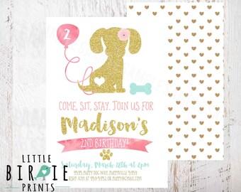 Puppy Dog Birthday Invitation, Puppy Birthday Invitation, Dog Birthday Invitation, Dog Invitation, Puppy Invitation Girl Gold Glitter Pink