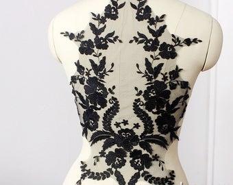 Lace Applique Pair/Lace Wedding Dress Applique/Boho Wedding Dress/Bridal Applique by piece/Prom Dress/Evening Gown/ALA-07