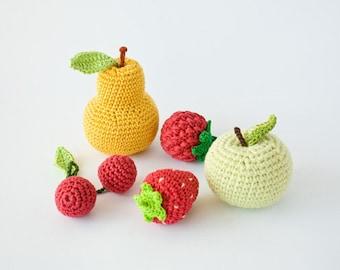 Crochet Baby Rattles Fruit, Set of 5 - apple, pear, raspberry, srawberry, cherry - crochet toys for baby