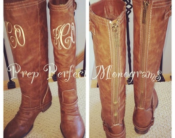 Monogrammed Brown Tan Riding High Boots