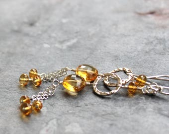 Citrine Earrings Long Dangle Sterling Silver Beaded Hammered Circles Tassel Chains November Birthstone