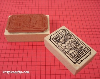 Calaveras Ticket Stamp / Invoke Arts Collage Rubber Stamps