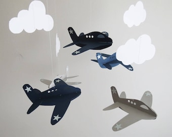 Airplane Mobile -  Baby Mobile, Nursery Mobile, Navy and Grey Airplanes, Boy Mobile, Hanging Mobile, Cloud Mobile, Aviation Mobile.