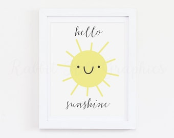 Hello sunshine print, sunshine print, nursery decor, sunshine art, nursery art, yellow sun, happy sun, printable wall art, INSTANT DOWNLOAD