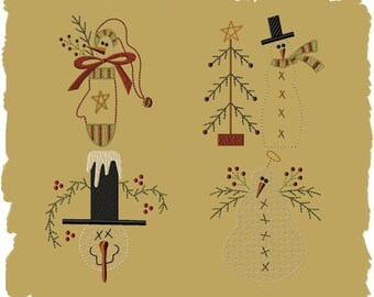 Primitive Machine Embroidery-Snowman Collection 1- 4X4 SET-INSTANT DOWNLOAD