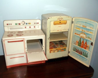 Vintage Mid-Century Wolverine Tin / Metal Toy Kitchen Play Set Includes Stove / Oven and Refrigerator 2 pieces
