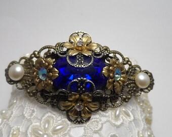 Blue barrette sapphire barrette blue hair clip sapphire hair clip wedding hair clip hair accessories bridal accessories wedding accessories