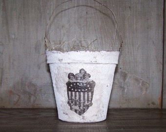 Primitive Americana Basket, Peat Pot Basket with Vintage Image, Farmhouse Decor, Easter Basket, Americana Basket Party Favor - READY TO SHIP
