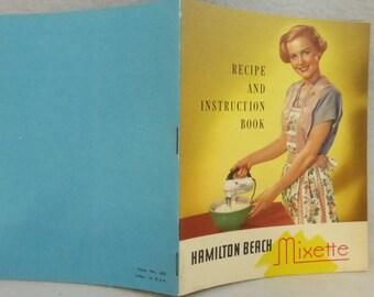Vintage Hamilton Beach Mixette Recipe and Instruction Book