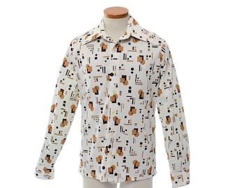 Vintage 70s Medici Geometric Disco Shirt 1970s Graphic Polyester Blend Pimp Shirt, Prom Retro Dance Party Shirt / mens M