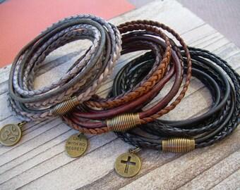 Leather Bracelet, Charm Bracelet, Mens Leather Bracelet, Womens Bracelet, Mens Jewelry, Mens Bracelet, Triple Wrap Bracelet, Magnetic Clasp