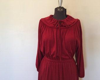 Vintage Red Dress / Med/Large / Pleated Dress