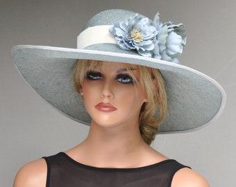 Derby Hat, Wedding Hat, Ascot Hat, Formal Hat Aqua Blue Hat, Ladies Blue Hat, Women's Blue Hat, Wide Brim Hat