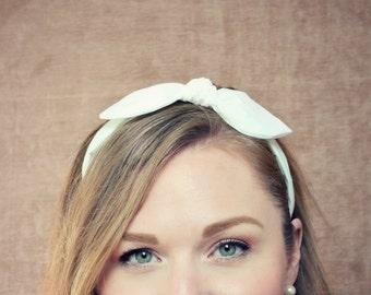 White Bow Headband Knotted Headband for Women White Headband Fabric Headband Adult Headband Scarf Headband Alice in Wonderland Bow