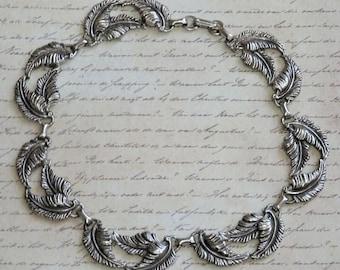 """Vintage Leaf Motif Pewter Vintage Choker Necklace 16"""""""