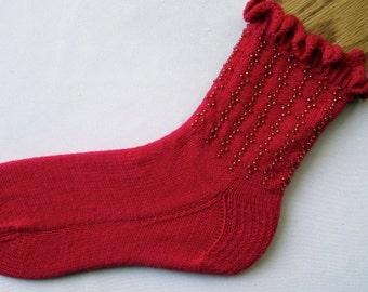 Knit Sock Pattern:  Beaded and Ruffled Sock Knitting Pattern