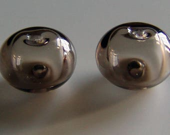 Hollow Lampwork Bead Earring Pair Light Brownish Grey MTO