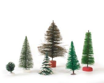Bottle Brush Christmas Tree - Miniature Frosted Flocked Plastic Decor - Vintage Tiny Village or Train Modeling Assortment