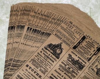 50 Newspaper Print Bags Kraft Paper Bags Vintage Newsprint  Merchandise Bags Packaging Wedding Favor Bags Kraft Bags Treat Bags Gift Bags