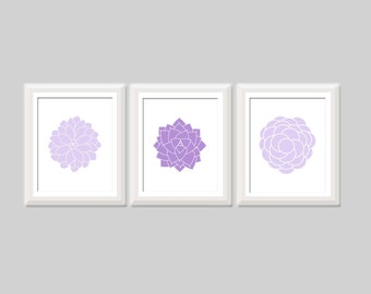 Modern Floral Print Set of 3, Botanical Prints, Flower Wall Art, Floral Nursery, Purple Baby Girl Nursery Art Modern Home Decor Bathroom Art