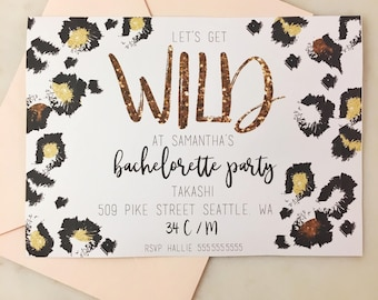 Printable Leopard Let's Get Wild Bachelorette Party Invitation