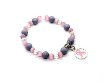 Pink Awareness Ribbon Bracelet, Breast Cancer, Breast Cancer Gifts, Breast Cancer Bracelet, Breast Cancer Awareness, Breast Cancer Charms