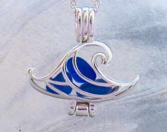 Ocean Wave Necklace Sea Glass Cobalt Blue Sterling Silver Locket Necklace Summer Style Boho Beach Wedding  by Wave of Life™