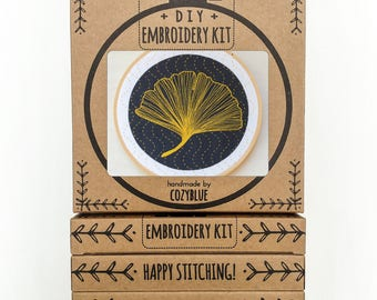 GINKGO embroidery kit - embroidery hoop art, ginkgo biloba leaf, golden leaf on black design, sashiko waves, fall decor, DIY stitching kit
