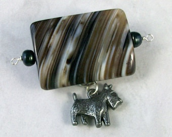 Striped Natural Sardonyx, Black Fresh Water Pearl and Pewter OOAK Scottie Brooch Pin - P-28s