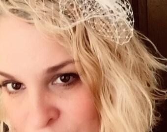Petite Rhinestone Bridal Wedding Fascinator Feather Hair Clip Ostrich birdcage veil Ivory or White