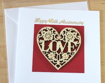 Ruby Anniversary card, gift,  40, 40th Anniversary card, gift,  Anniversary cards handmade, Anniversary card for husband, wife, Parents