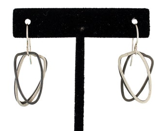 Free-Flowing Two-Toned Forged Arch Shape Sterling Dangles